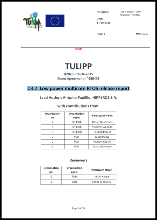 D3.2: Low power multicore RTOS release report