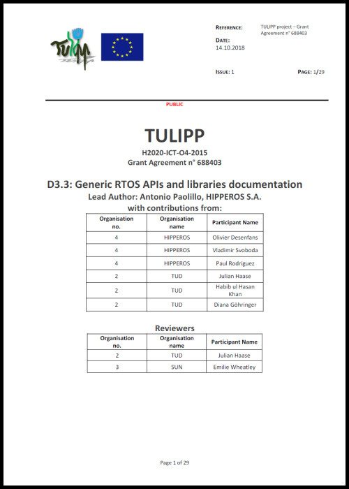 D3.3 Generic RTOS APIs and libraries documentation